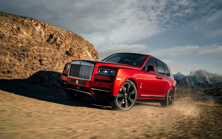 Download wallpapers 4k, Rolls-Royce Cullinan, motion blur 2019 cars, offroad, SUVs, red Cullinan, Rolls-Royce besthqwallpapers.com