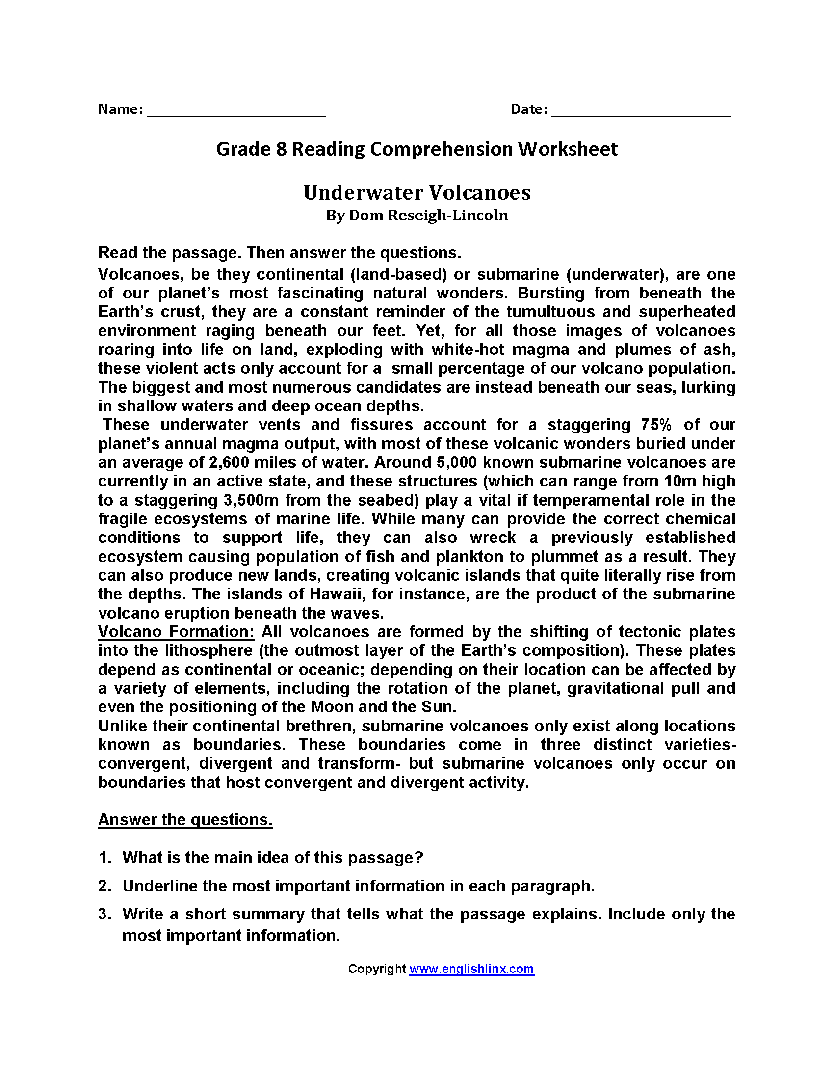 Underwater Volcanoes Eighth Grade Reading Worksheets   Reading worksheets [ 2200 x 1700 Pixel ]