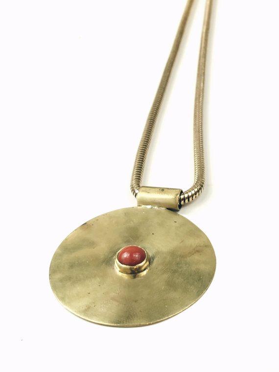 Daedal Pendant Necklace   boho necklace   long pendant   brass  necklace