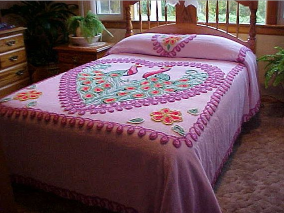 Chenille Bedspreads For Sale The Beautiful And Scenic Motifs Looks Sweet With A Heart Shaped Motifs Is Ver Bed Spreads Chenille Bedspread Linen Bedding Natural