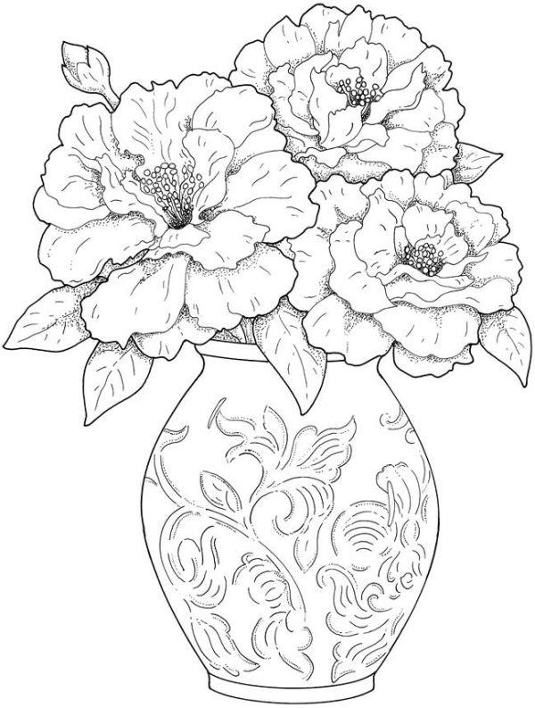 Шаблоны для творчества - Ваза с цветами Шаблоны для рукоделия - copy free coloring pages of hibiscus flowers