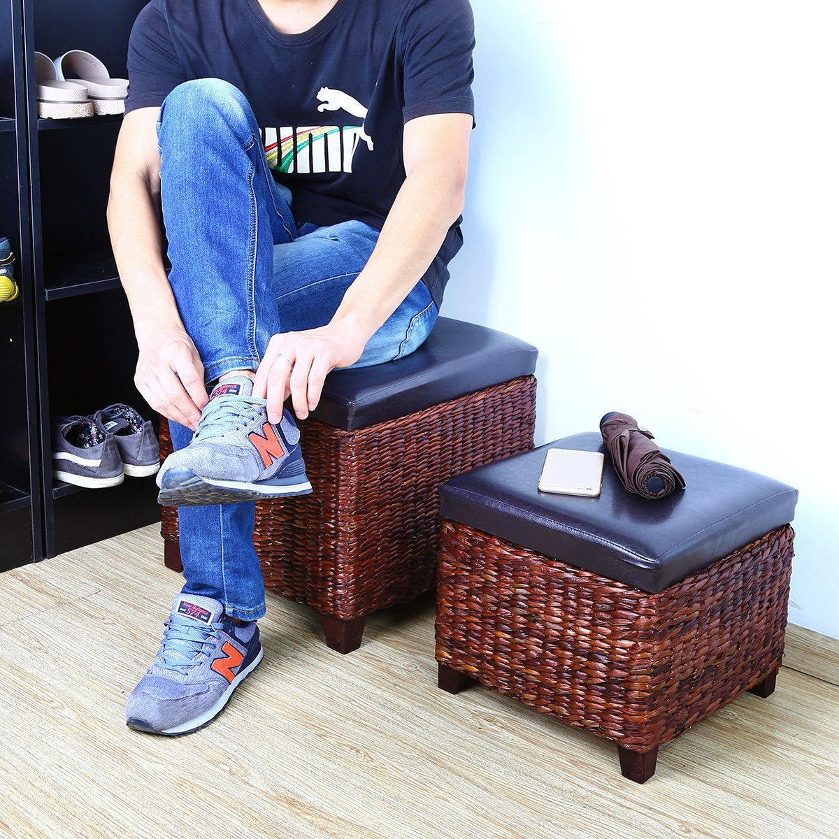 Beau Eshow Ottoman Rattan Ottoman With Storage Hassocks And Ottomans Foot Rest  Pouf Ottoman Foot Stools Cube Decoration Furniture Leather Ottoman Seating  Storage ...