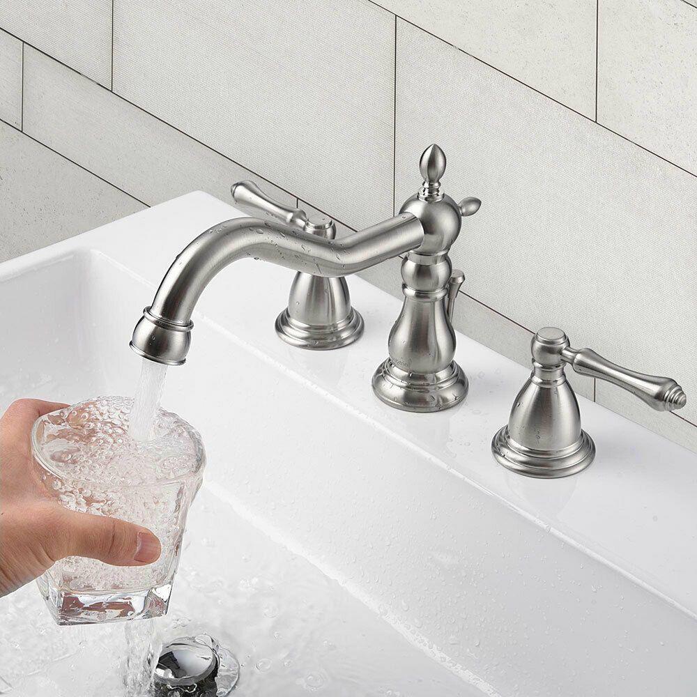 3 Hole Bathroom Faucet Widespread Basin Mixer Tap Undermount Basin Sink W Drain In 2020 Sink Mixer Taps Sink Counter Top Sink Bathroom