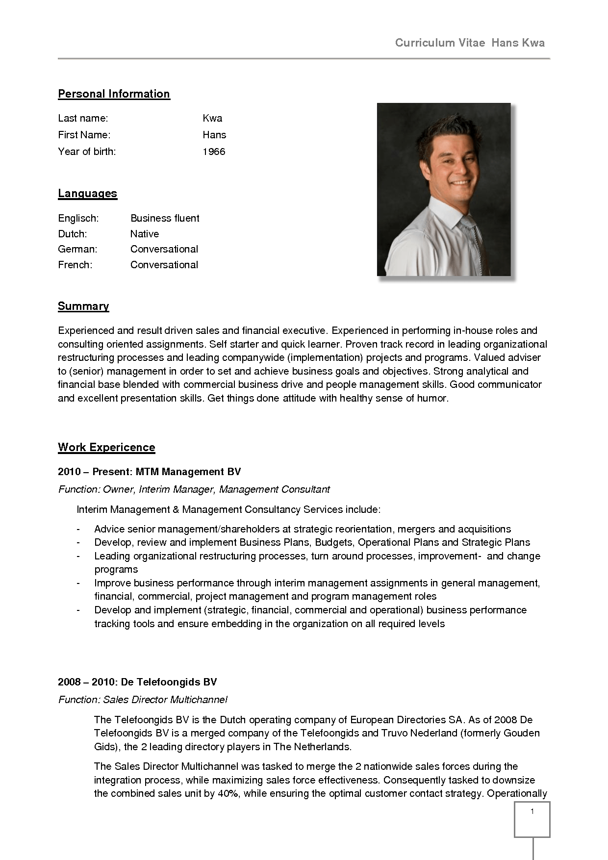 example resume in german format in english