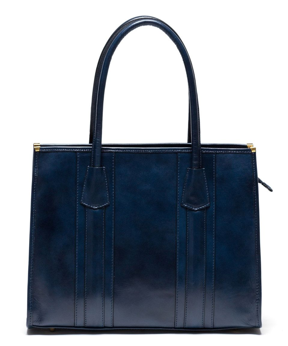 Loving this Blu Scuro Gold-Corner Leather Tote on #zulily! #zulilyfinds