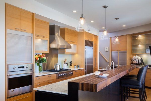 Contemporary Kitchen Wooden Bar Top Breakfast Ideas Leather Stools
