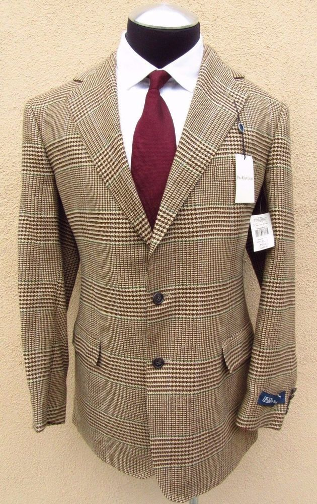 ~SOLD~Polo Ralph Lauren NWT Tweed Glen Plaid Linen Silk Wool Blazer Sport Coat Sz 42 L #PoloRalphLauren #TwoButton