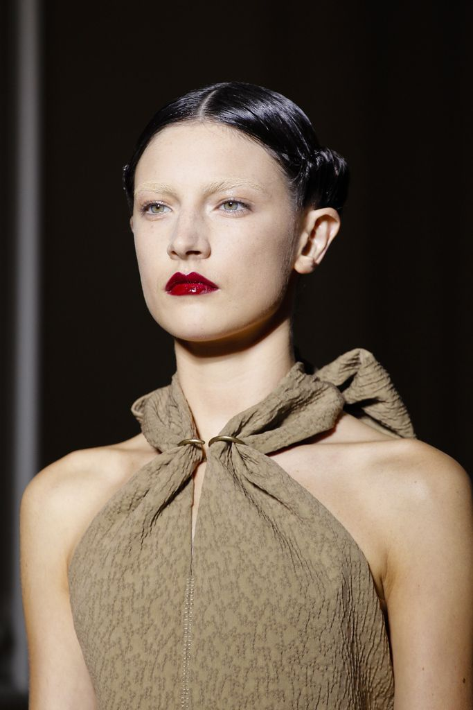 Spring 2011 Saint Laurent - beauty - bleached eyebrows, glossy red lip