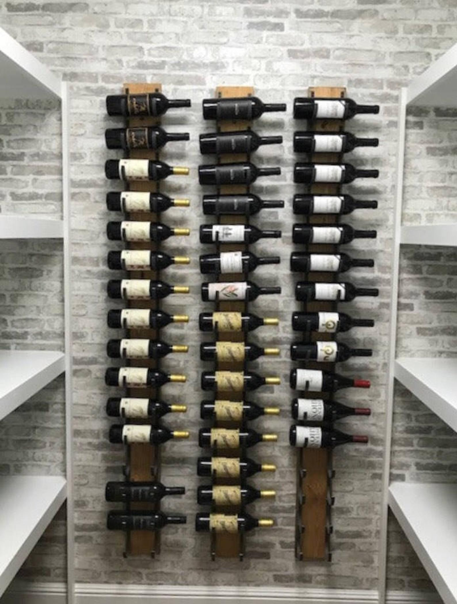 12 Bottle Wine Rack Wall Mounted Steel Wood Reclaimed Rustic Industrial Armarios De Vino Pared De Vino Estantes De Vino