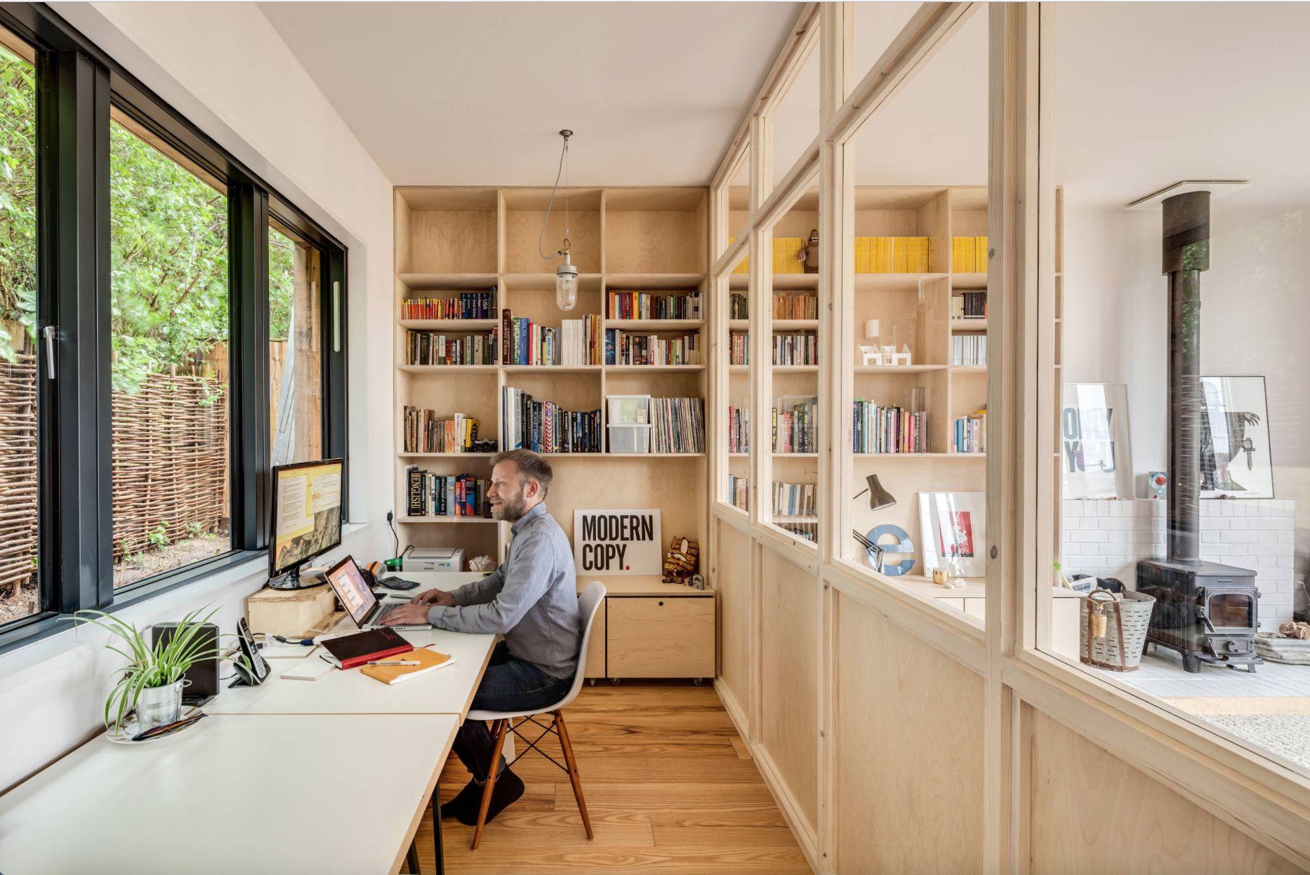 Verriere bois wood glass wall long crendon houzz scandinave bureau