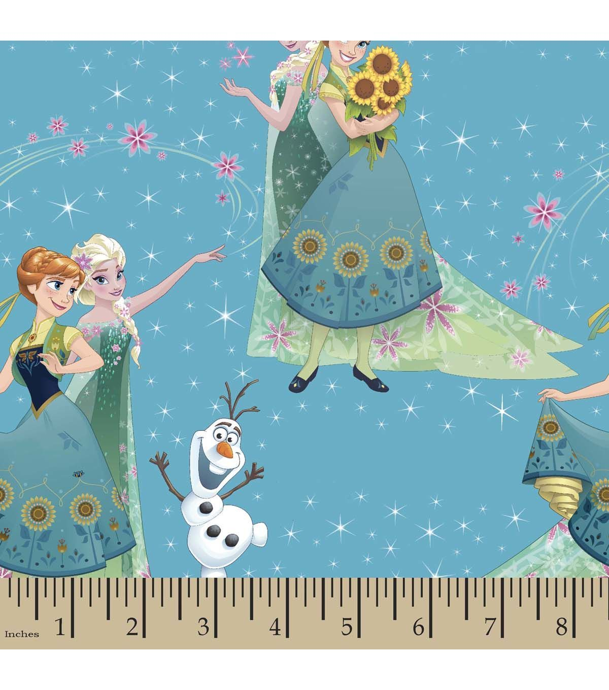 Disney Frozen Print Fabric Sisters And Olaf