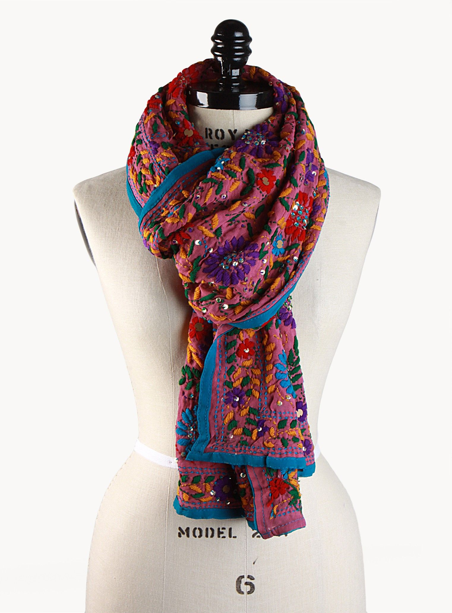 Raspberry Floral Embroidered Scarf Accessories Autunno