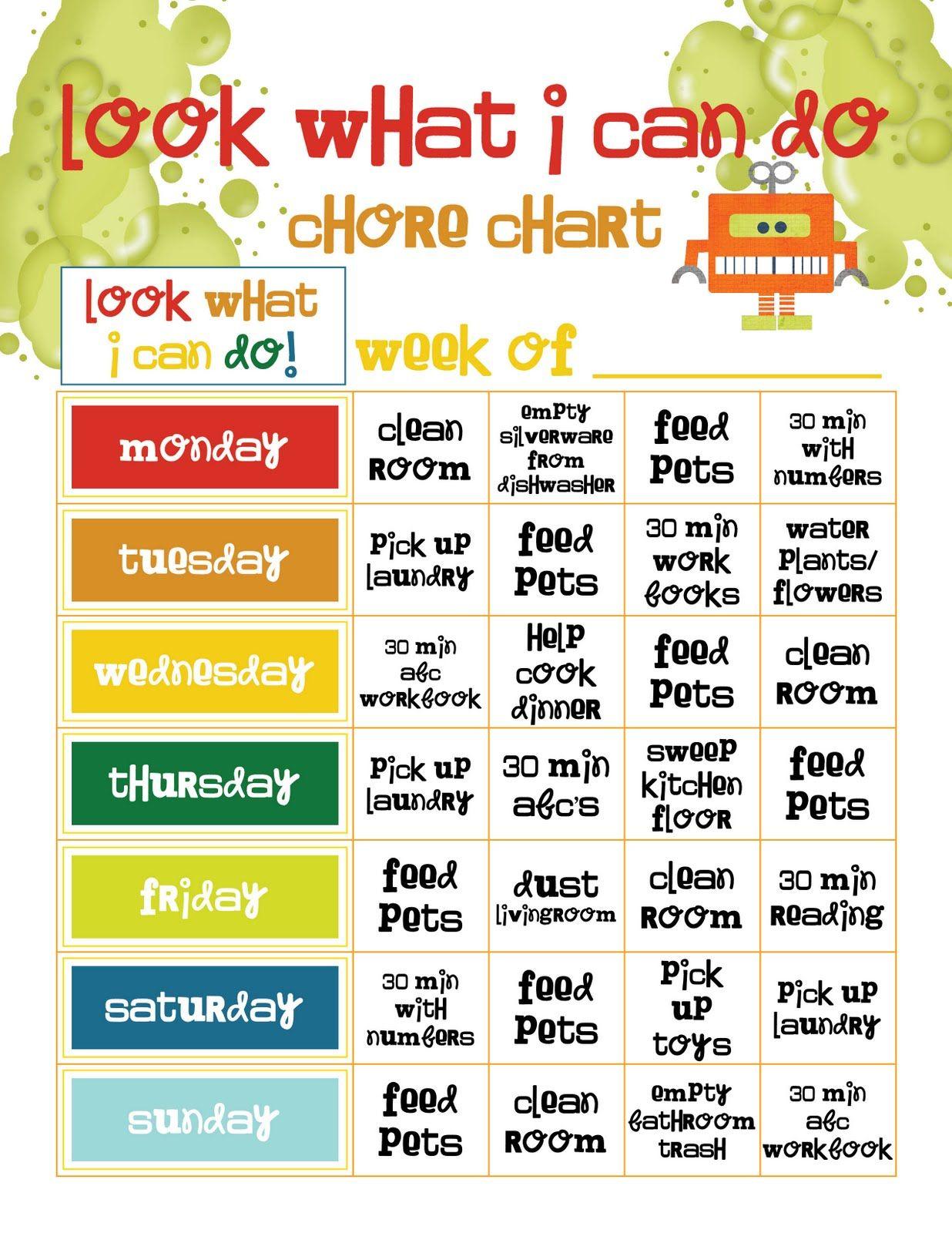 Preschool Chore Chart Template  Preschool Job Chart  Chore