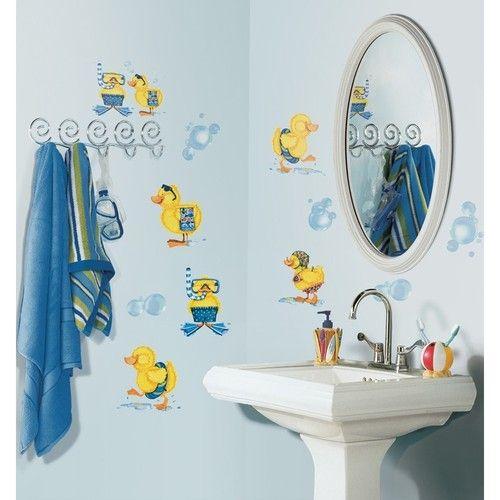 kid bathroom idea-ducks bubble bath wall stickers 29 decals rubber