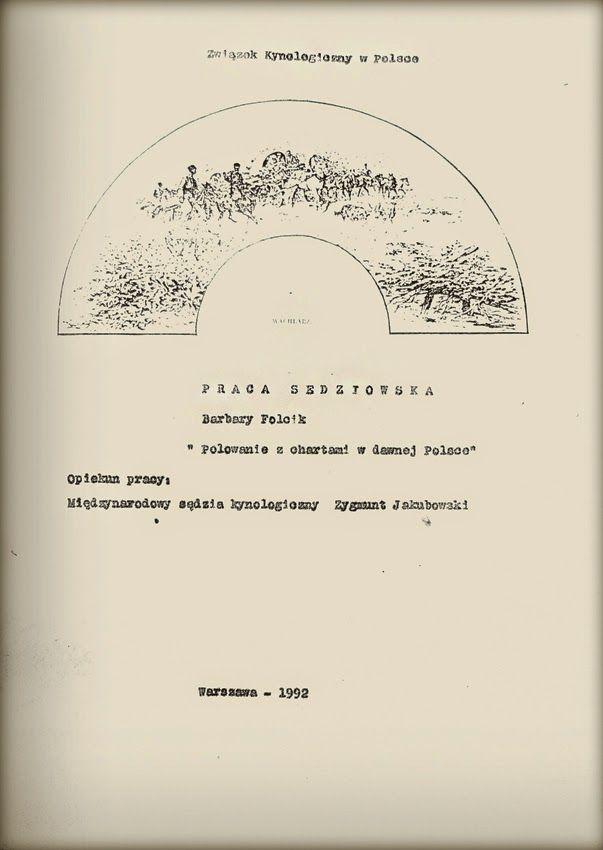 Barbara Folcik  POLOWANIE Z CHARTAMI W DAWNEJ POLSCE  Warszawa 1992