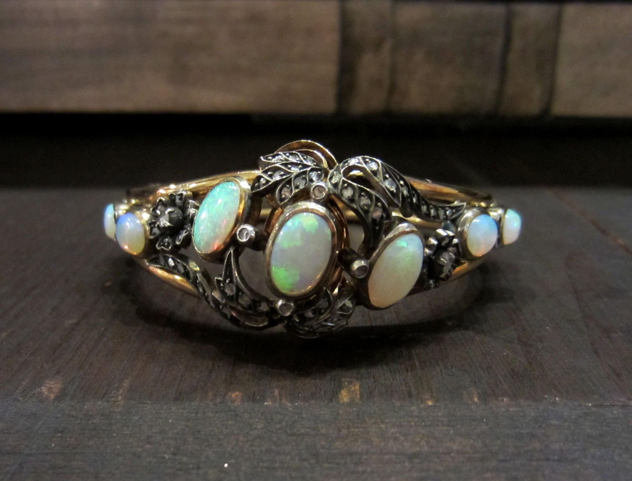 Sold Victorian Opal And Rose Cut Diamond Hinged Bangle Bracelet Silver 18k C 1860