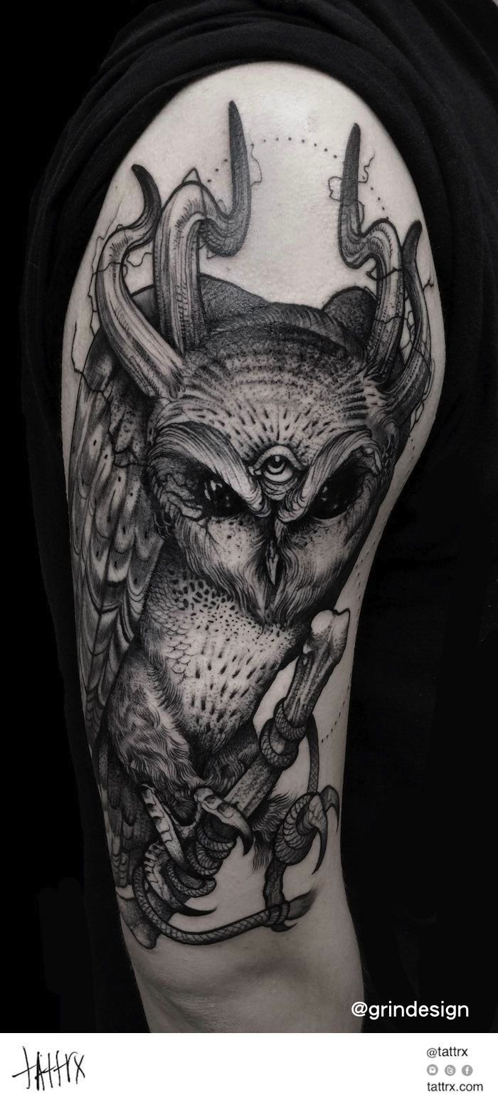 c9337636e1dc5 Evil Owl Tattoo Designs | tats | Owl tattoo design, Demon tattoo ...