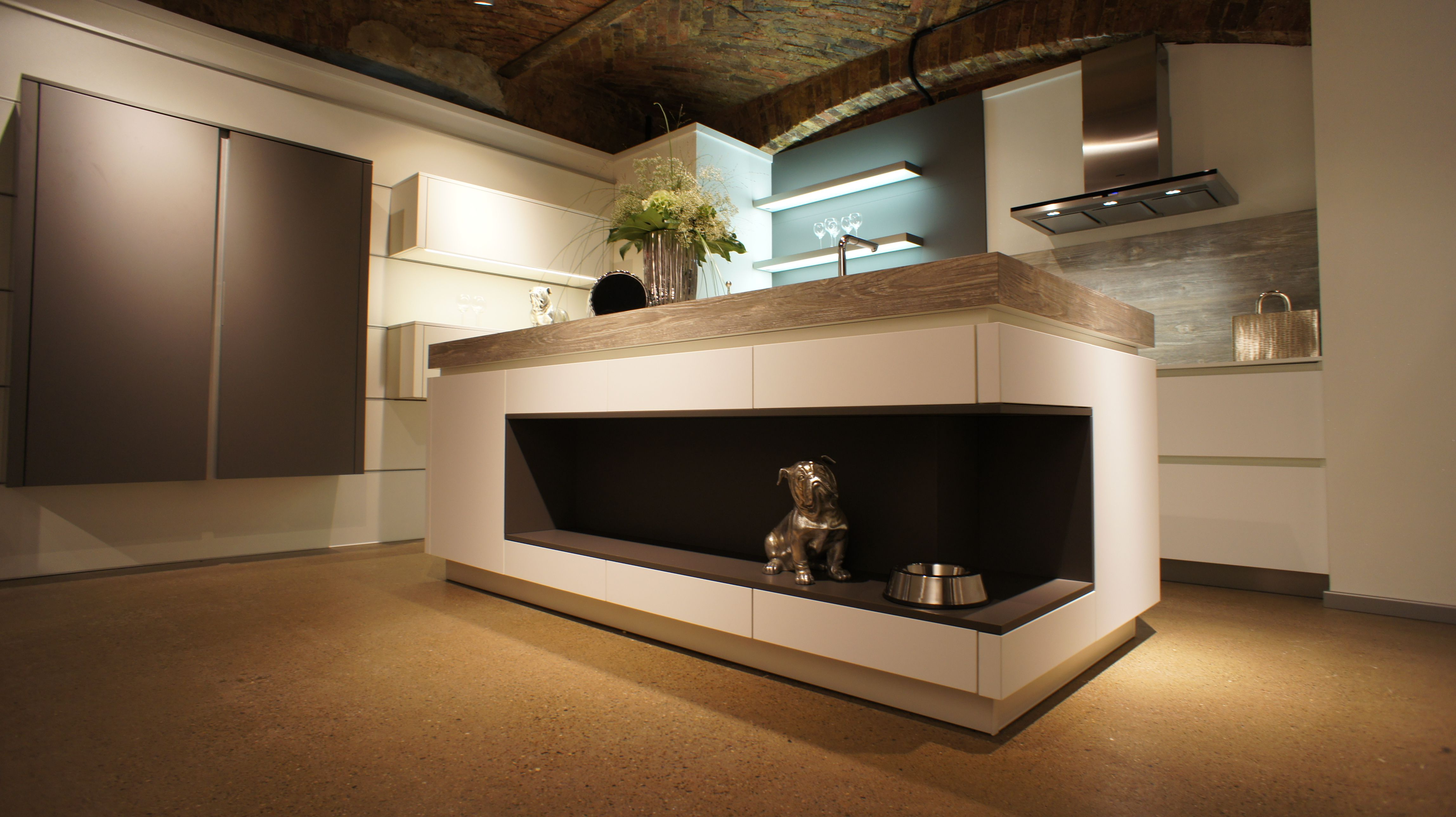 Bauformat Modern Kitchen With Cool Island.kitchen For Dog, Lighted Shelves,  Geometrical Island