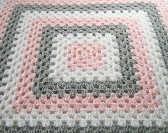 Photo of Baby Girl Afghan, Crochet Baby Blanket, Pink Green White Afghan, Pink and Green Nursery