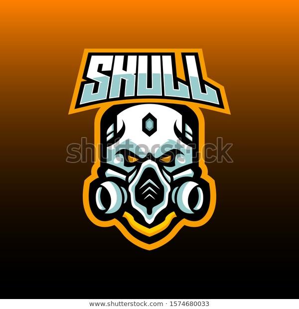 Skull Gas Mask E Sports Logo Stock Vector Royalty Free 1574680033 Gambar Tengkorak Ilustrasi Topeng