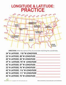 Latitude and longitude of cities worksheets geography and students latitude and longitude of cities sciox Image collections