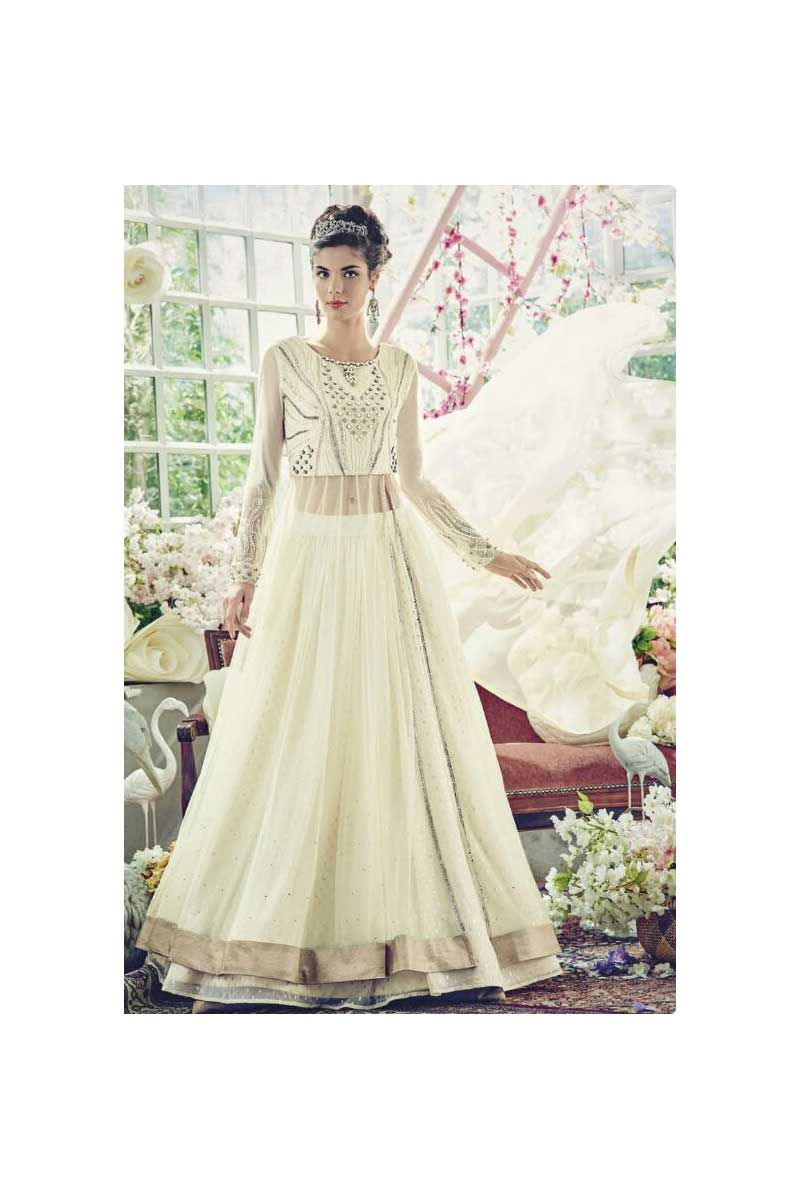 Designer Wedding Wear Off White Anarkali Dress With Heavy Work ...