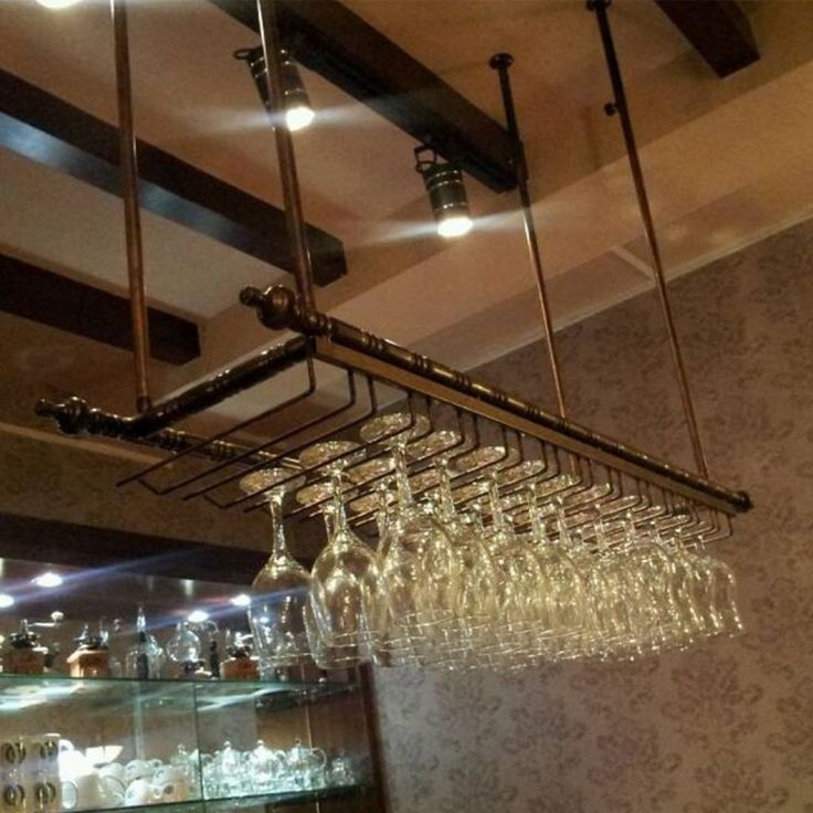 Image result for industrial wine glass hanging rack pub basement cheap bronze tripod buy quality rack and pinion prices directly from china rack guns suppliers top rated wrought iron wine rack wine glass rack wall aloadofball Images