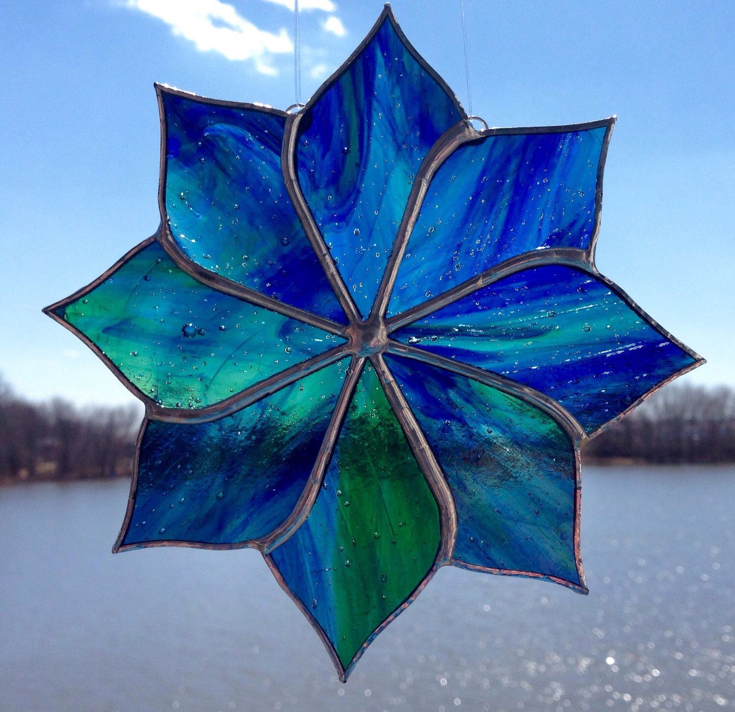 "6"" Blue/Green/Clear Streaky Pinwheel Stained Glass Sun Catcher by Sweveneers on…"