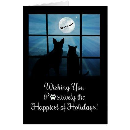 Cute And Funny Cat And Dog Holiday Card
