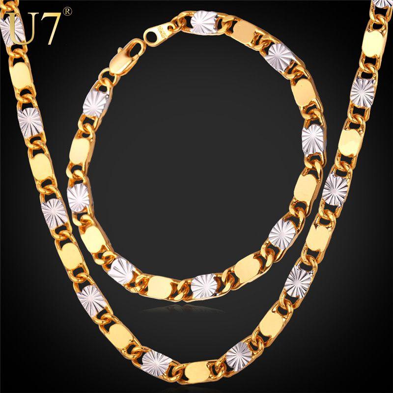 U7 Two Tone Gold Plated Ethiopian Jewelry Set Wholesale Trendy