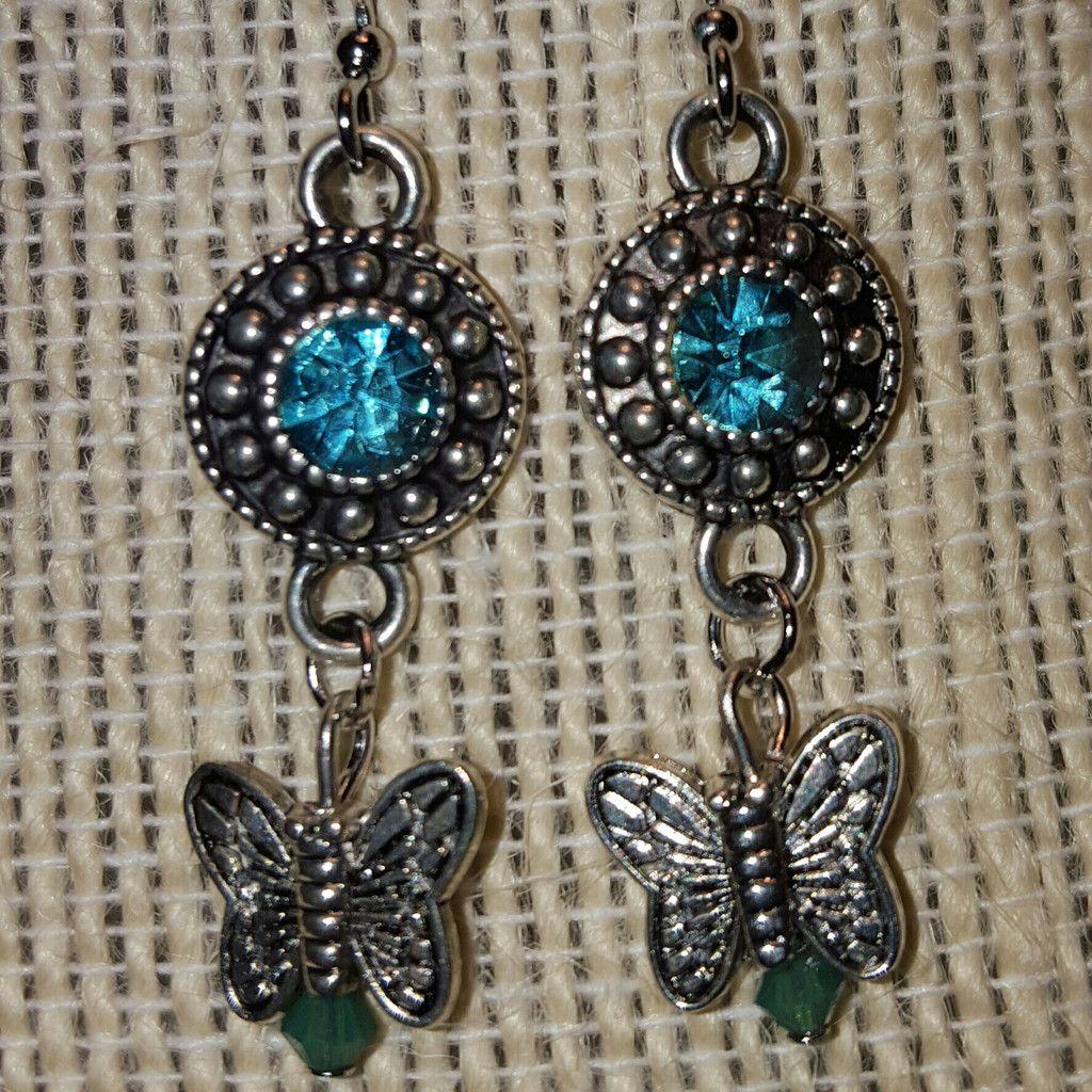 Aquamarine butterfly earrings