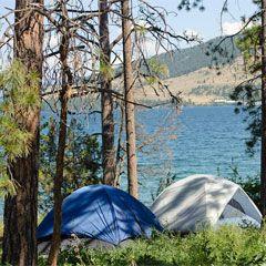 Photo of two dome tents along Flathead Lake. & Photo of two dome tents along Flathead Lake.   Montana (Treasure ...