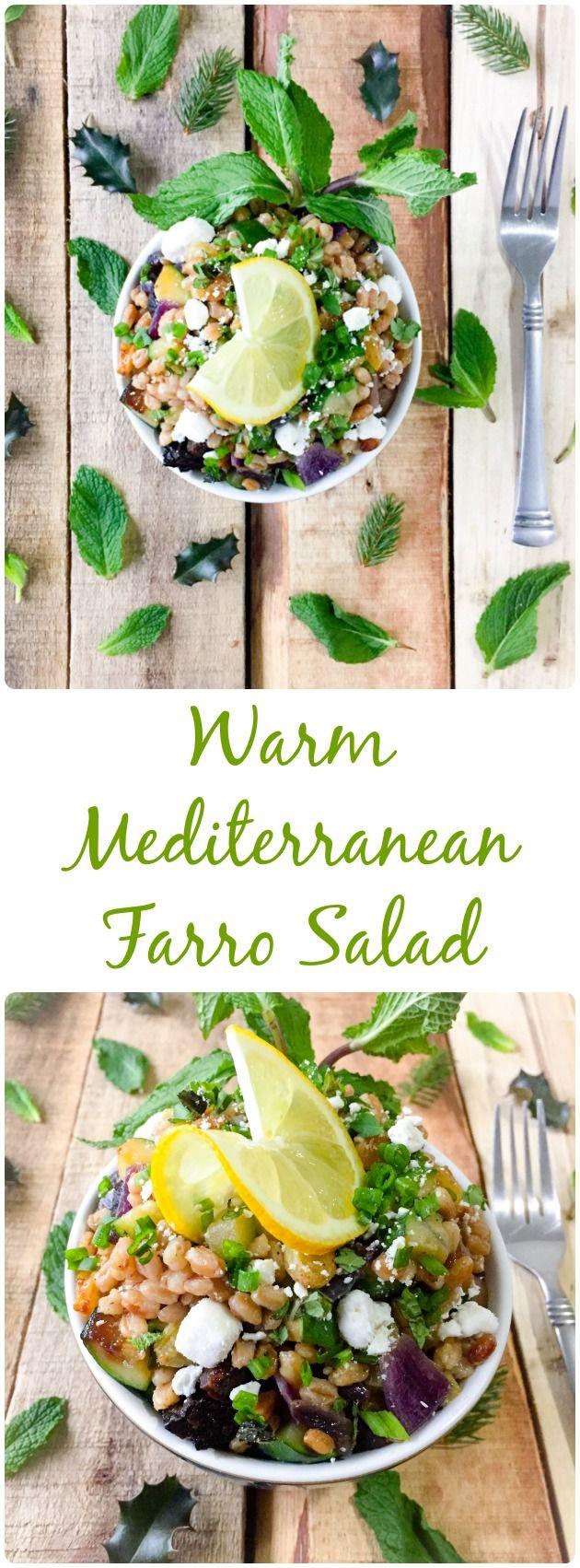 Warm Mediterranean Farro Salad! Quick healthy meals. Salad ideas. Pasta alternative.