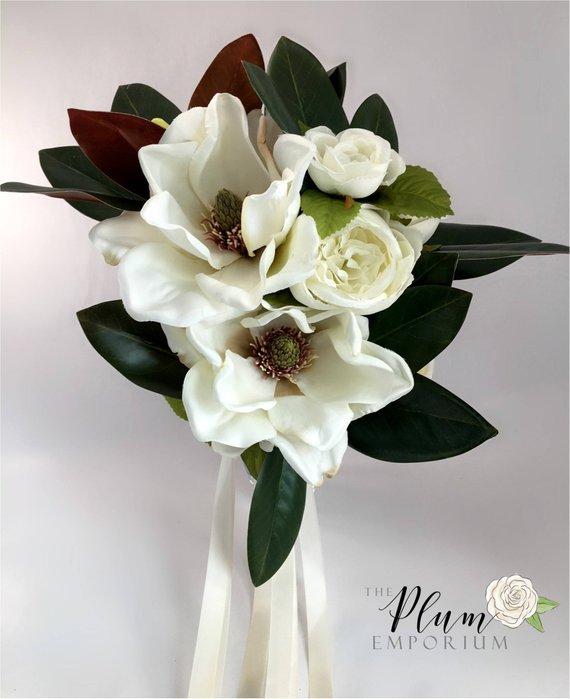 Bouquets Magnolia Peony Rose Bouquet W Ivory Magnolias Etsy Magnolias Wedding Bouquet Magnolia Bouquet Rose Bouquet