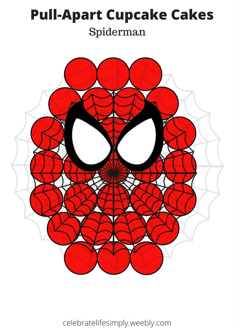 Spiderman mask pull apart cupcake cake template cupcake for Spiderman template for cake