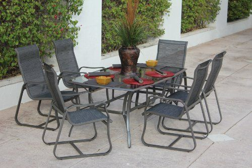 7 Piece Aluminum Dining Set With Glass Table Patio Furniture Pewter Alexis By Bellini 1199 99 Garden Patio Furniture Glass Dining Table Outdoor Dining Set