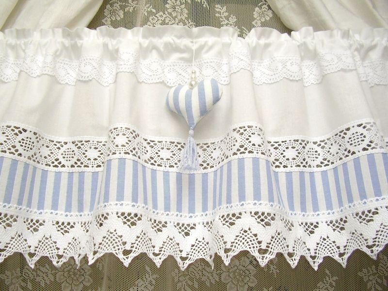 Shabby Chic Weiß Blau Landhaus Gardine Vintage 238 Von