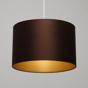 Chocolate Brown Raw Dupion Silk Lampshade With Gold Lining  Lightsoflondon.com