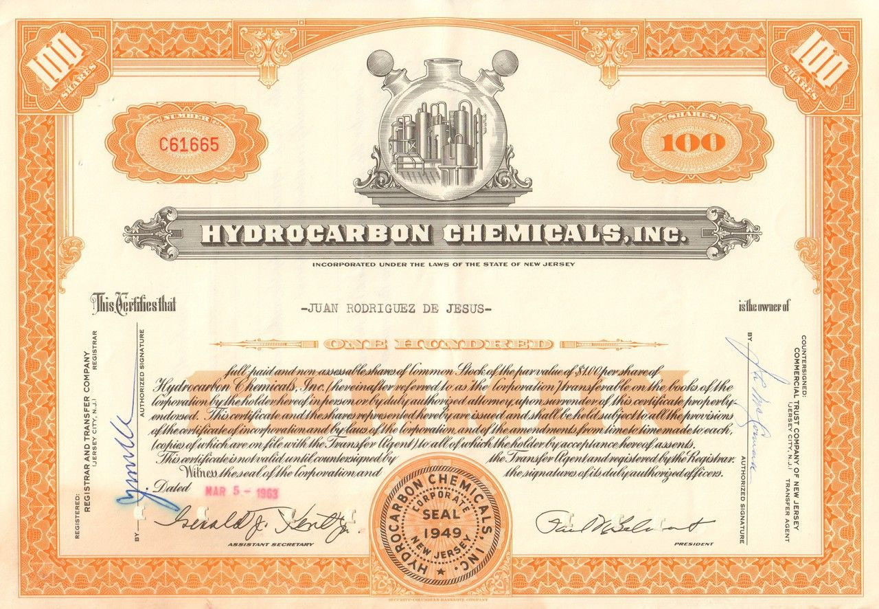 Hydrocarbon Chemicals Inc 1963 Stock Certificates Texas Oil