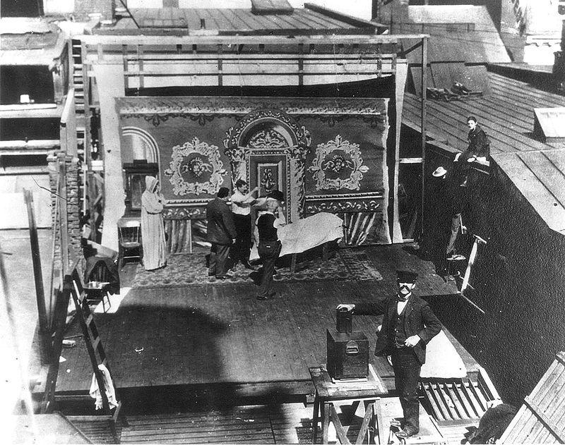 Lubin Studios open air set on the roof of the building Philadelphia, 1899.