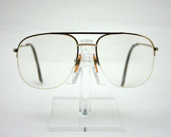 Vintage 1980s Mens Eye Glasses Prescription Frames Aviator Style