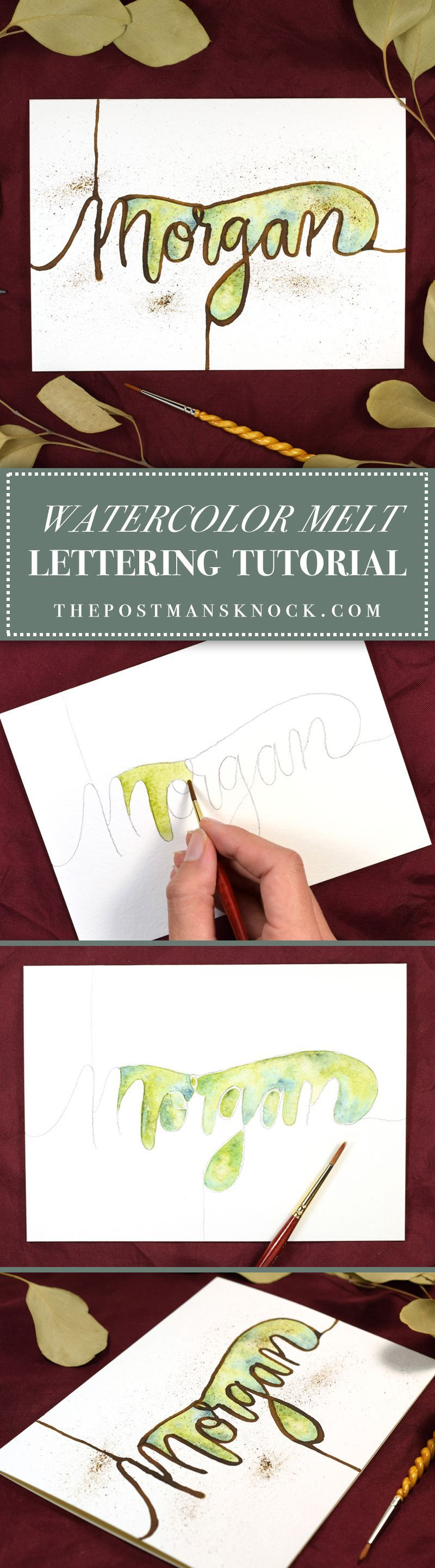 Watercolor Melt Lettering Tutorial The Postman's Knock