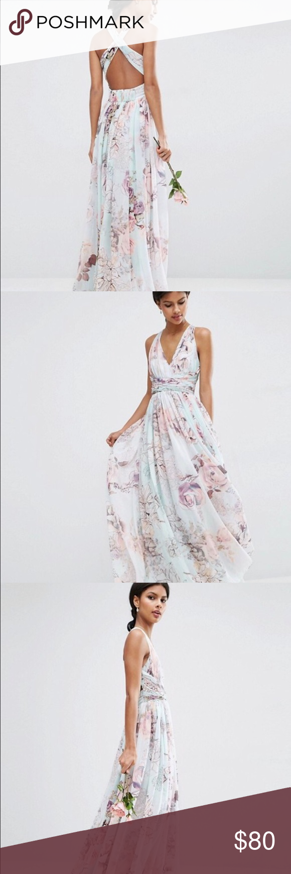 Floral print wedding guest dress  ASOS WEDDING Hollywood Maxi Dress Soft Rose Print NWT  Floral