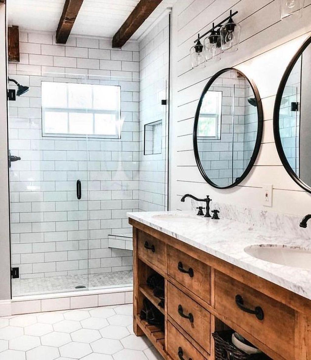 33 Latest Farmhouse Bathroom Design Ideas To Try Diy Bathroom Remodel Modern Farmhouse Bathroom Farmhouse Master Bathroom
