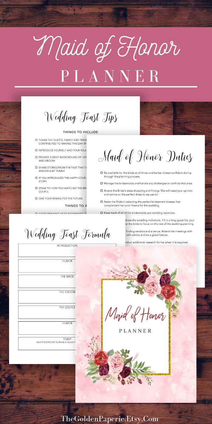 photograph relating to Maid of Honor Printable Planner called Maid of Honor Planner, Marriage Planner Printable, Bridesmaid