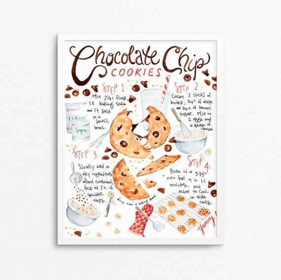 Chocolate Chip Cookie Recipe Kitchen Art Print, Recipe Illustration, Modern Kitchen Art Print, Bakery Decor, Foodie Gift, Food Art - #chocolate #cookie #Illustration #kitchen #print #recipe - #RecipeLove