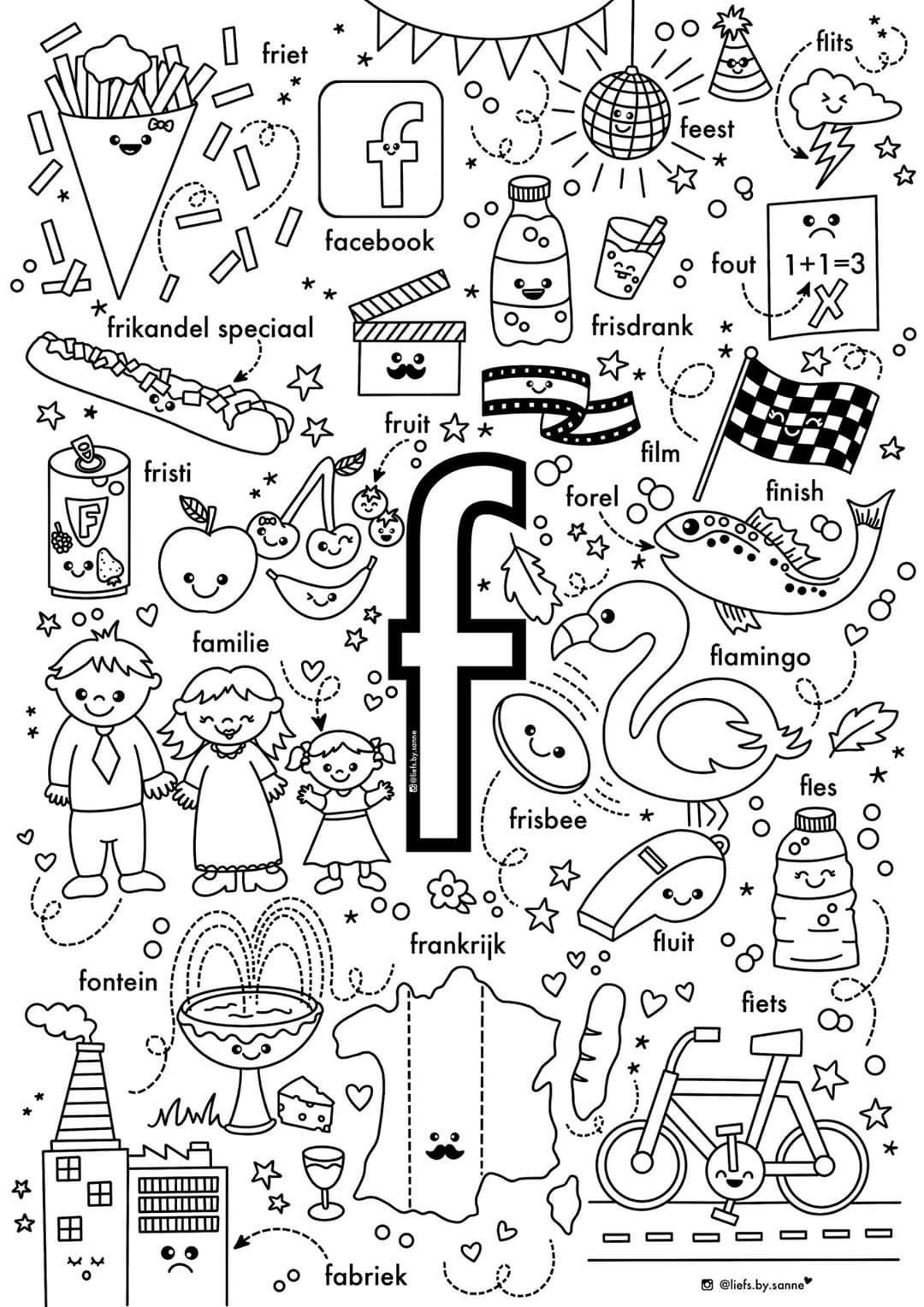 F Woorden Kleurplaat In 2020 Letterherkenning Spelletjes Letterherkenning Alfabet Boek