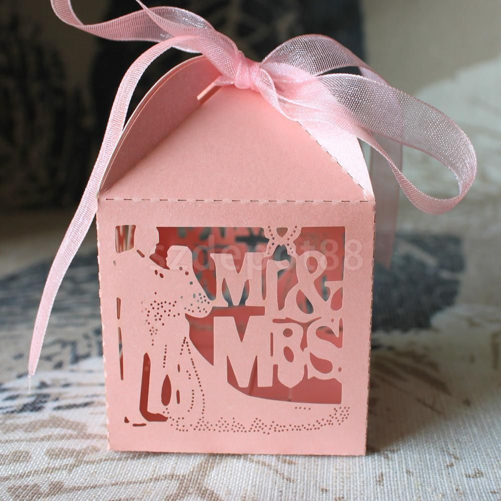 50 Wedding Favour Favor Sweet Cake Gift Candy Boxes Bags Party ...
