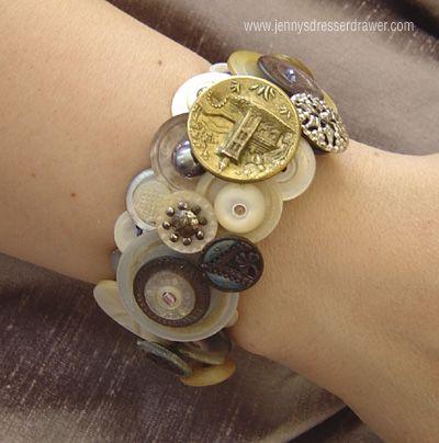 Fairy Tales  vintage button bracelet by Jen Wojtowicz #vintagebuttonbracelet #JenWojtowicz #buttons