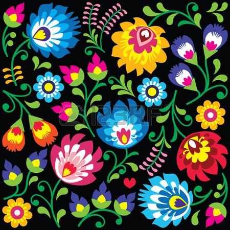 Floral Polish folk art pattern on black - Wzory Lowickie, Wycinanki ...